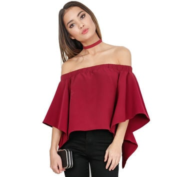 GT118 Women Frilling Sleeve Back Split High Low Tuxedo Off Shoulder Blouse Shirt Tops Blusa