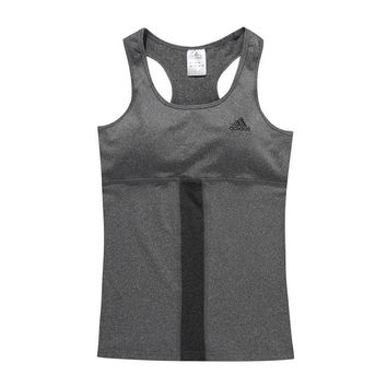 Adidas Woman Fashion Print Gym Sport Cotton Sleeveless Tunic Shirt Top Blouse-1
