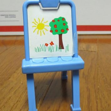 Vintage Fisher Price Dream Doll House Painting Blue Easel Toy