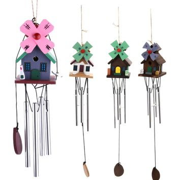 Windmill Alloy Windchimes 8 Tubes Bell Wind Chimes Garden Yard Hanging Ornaments DIY Rustic Home Decoration