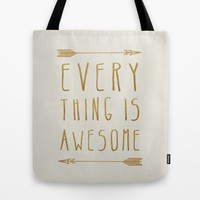 Everything is Awesome (beige edition) Tote Bag by Sandra Arduini | Society6