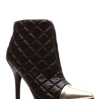 Quilted CoCo Gold Cap Pointed Toe Booties