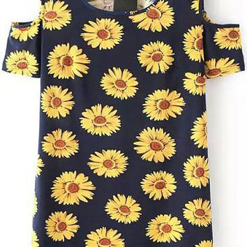 Dark Navy Sunflower Shoulder Dress