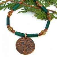 Tree of Life Handmade Necklace, Green Malachite Czech Glass Meaningful Jewelry Gift for Women