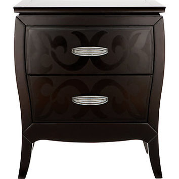 Belle Noir Dark Merlot 2 Drawer Nightstand