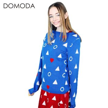 Women's Knitted Loose Fit Geometric Printed Sweater