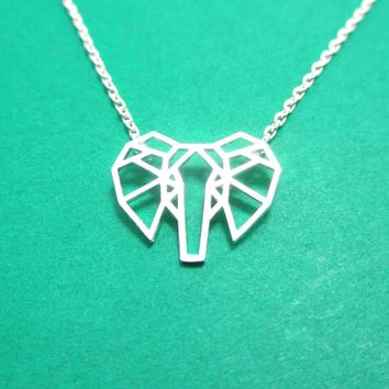 African Elephant Face Outline Shaped Pendant Necklace in Silver | DOTOLY