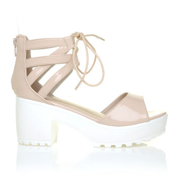 JENNER Blush Nude Patent Lace Up Peep Toe Chunky White Sole Sandals