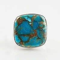 Copper Turquoise Square Sterling Silver Ring