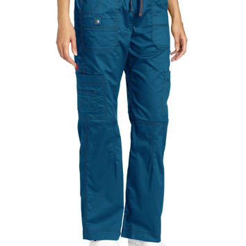 Dickies Scrubs Women's Gen Flex Junior Fit Contrast Stitch Cargo Pant Caribbean