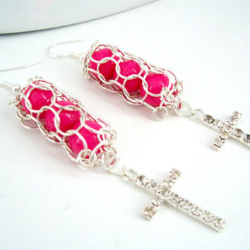 Rhinestone Cross Earrings, Chainmaille Earrings, Pink Earrings, Chainmaille Jewelry, Rhinestone Earrings, Rhinestone Jewelry, Cross Jewelry