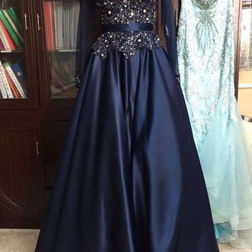 Sexy Navy Blue Long Sleeve Evening Dresses Vestido De Festa Sheer Neckline Crystal Beads Lace Taffeta Formal Gowns Real Sample