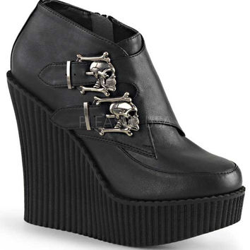 Black Skull Buckle Wedge Platform Creepers