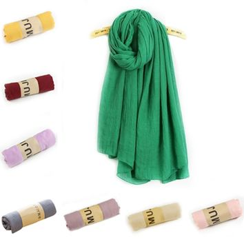 2017  New Winter Long Pure Color Cotton Linen Scarf Women/Men Scarves Clothing Accessories