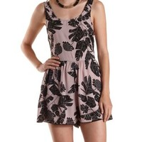 Taupe Combo Tropical Print Tank Romper by Charlotte Russe