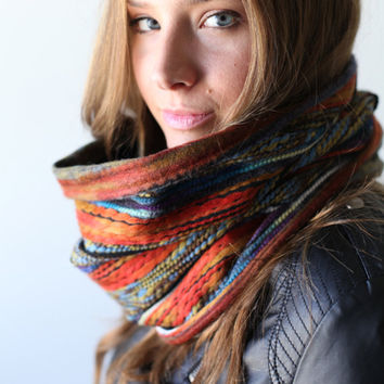 scarf, infinity scarf, orange green cowl, felted yarn cowl neck, reversible, infinity scarf