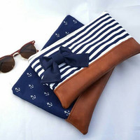 Handmade Large Navy and white striped zipper clutch bow makeup bag
