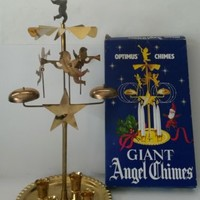 "Vintage Set of Giant Swedish Brass Spinning Angel Christmas Candle Chimes 18""';"