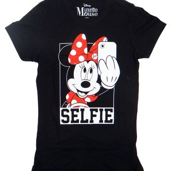 DIsney Minnie Mouse Selfie Juniors T-shirt (Large, Black)