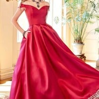 Off Shoulder Burgundy Prom Dress, Off Shoulder Formal Evening Dresses