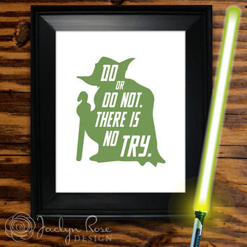"Printable wall art decor: Yoda ""Do or do not. There is no try."" Star Wars quote (Instant digital download - JPG)"