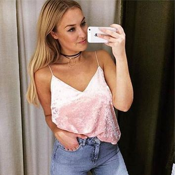 Sexy Velvet Straps V Neck Boho Party Tank Top Tees t Shirt
