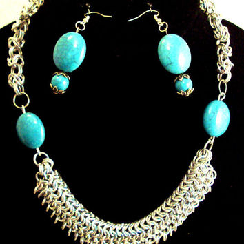 turquoise bauble necklace - blue chainmaille necklace - turquoise beaded necklace - blue collar necklace- blue bib necklace