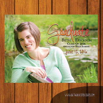 5x7 Full Photo Graduation Announcement Digital File / Graduation / Class Of / Announcement / High School Graduation / College Graduation
