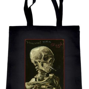 Skeleton Smoking Tote Book Bag Vincent Van Gogh Art