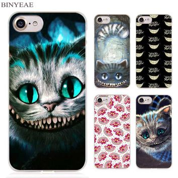 BINYEAE Alice in Wonderland Cheshire Cute Cat Clear Cell Phone Case Cover for Apple iPhone 4 4s 5 5s SE 5c 6 6s 7 Plus