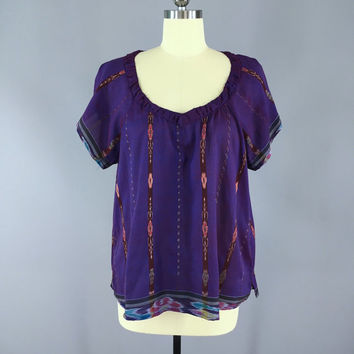 India Silk T-Shirt Blouse / Vintage Indian Sari / Indian Silk Blouse / Purple Ikat / Size XL Extra Large