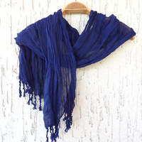 Handwoven infinity scarf,  Navy Blue Scarves, Natural,Organic Scarf, Fashion accessories, Women Scarves