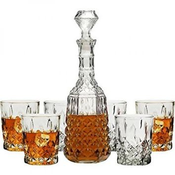 7pc Nottingham Crystal Glass Set 34.5oz Decanter 10oz Rocks Glasses Lead Free