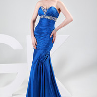 Royal Blue Beaded V-Neck Strapless Mermaid Evening Dress