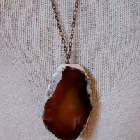 Bohemian Sol- 'Intuition' Agate Slice Necklace