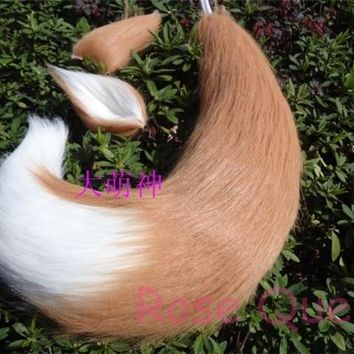 Free shipping Japan Anime Spice and Wolf Holo fox ears & tail plush cosplay Costumes prop 65cm Handmade