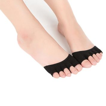 Yoga Socks, Women Invisible Yoga Gym Backless Toe Socks Half Grip Heel Five Finger Socks