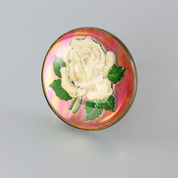 Rose Flower Brooch pin jewelry, Intaglio goofus glass reverse painted, 1940s jewelry
