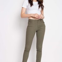 Olive Roll-Up Skinny Fit Pants/Jeans