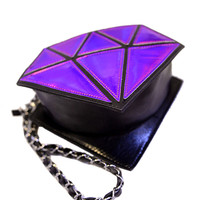 Dark Purple Diamond Shaped Hologram Across Body Bag
