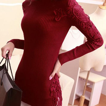 Turtle Neck Floral Lace Long Sleeve Sweater