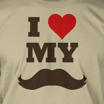 Movember I Heart Love My Moustache Screen Printed T-Shirt Tee Shirt T Shirt Mens Ladies Womens Youth Kids Funny Geek