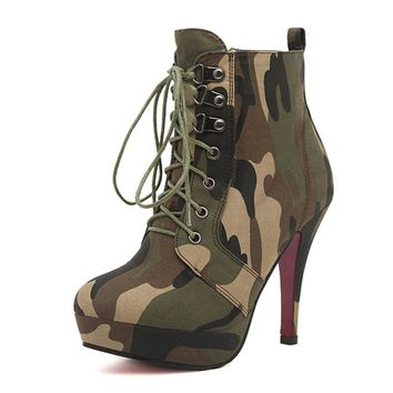ZLYC Camouflage High-heeled Lace Up Platform Stiletto Ankle Boots