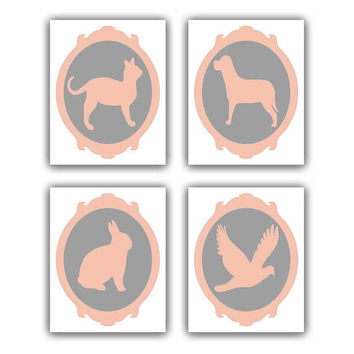 Animals Nursery Art Custom Colors SET 4 prints , Baby room wall art, Bird, Bunny, Dog, Cat, Baby Nursery wall art, Animals nursery wall art