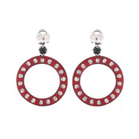 miu miu - studded leather hoop clip-on earrings