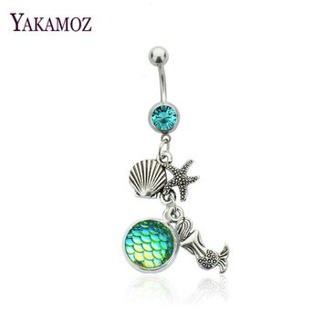 5 Color Fish Scales Mermaid Navel Ring Starfish Shell Pendant Bell Belly Button Ring Body Piercing Navel Rings Body Jewelry 2017