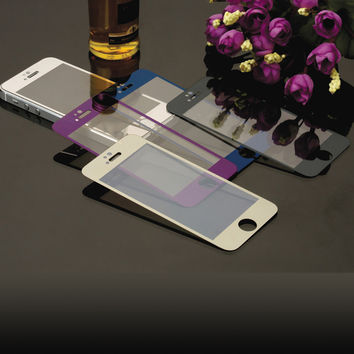 Front+Back Tempered Glass For iPhone 5 5S 4inch Full Cover Mirror Effect Color case Protective Film for For Apple 4 4s 3.5inch