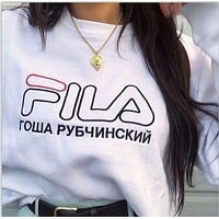 Fila vintage print shorts sleeve black red top SweaterShirt