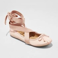 Women's Maci Lace Up Wrap Ballet Flats - Mossimo Supply Co.™