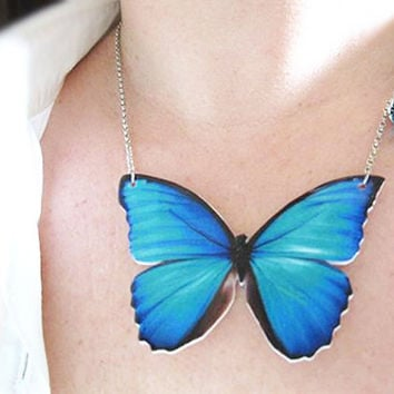 Teal Blue Butterfly Necklace Jewelry for Her by whatanovelidea